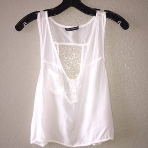 Brandy Melville White Sleeveless Crop Top